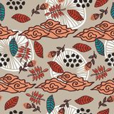Leaves and foliage pattern with hand drawn style seamless background vector illustration