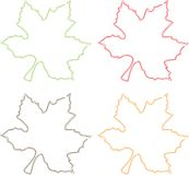 Leaves four colours Stock Images