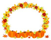 Leaves frame and pumpkins. Fall leaves frame with pumpkins royalty free illustration