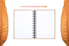 Leaves frame & recycle notebook with pencil Royalty Free Stock Photos