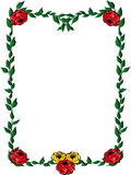 Leaves frame with roses. Frame of green rose leaves with red and yellow roses on white background. Vector illustration Royalty Free Stock Photos