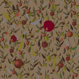 Leaves and fruits seamless pattern Stock Images