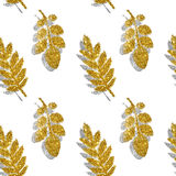 Leaves of golden and silver glitter on white background, seamless pattern Stock Photo