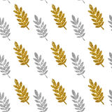 Leaves of golden and silver glitter on white background, seamless pattern Royalty Free Stock Photos