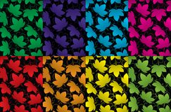 Leaves of grapes patterns, backgrounds. Vector illustration Royalty Free Stock Photo