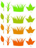 Leaves and grass changing color. A simple design showing leaves and grass changing color from green to orange (spring to autumn Royalty Free Stock Image