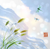 Leaves of grass and clouds in blue sky. Traditional oriental ink painting sumi-e, u-sin, go-hua. Contains hieroglyph - Royalty Free Stock Image