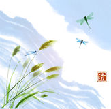 Leaves of grass, dragonflies and clouds in blue sky. Traditional oriental ink painting sumi-e, u-sin, go-hua. Contains. Hieroglyph - clarity Stock Photos