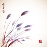 Leaves of grass hand drawn with ink.. Traditional Japanese ink painting sumi-e. Contains hieroglyphs - peace, tranquility, clarity, zen Royalty Free Stock Photos