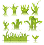 Leaves, Grass And Lawn Set. Illustration of funny set of cartoon spring or summer grass leaves, lawn and green plants Stock Photos