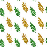 Leaves of green and golden glitter on white background, seamless pattern Stock Photo