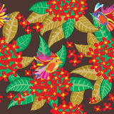 Leaves Group Red Flower Seamless Pattern_eps. Illustration of leaves group and red flower with birds seamless pattern Stock Images
