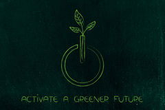 Leaves growing out of a power on icon, green future Stock Photos