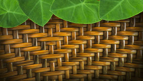 leaves with hand made wickerwork from rattan for backgroun Stock Images