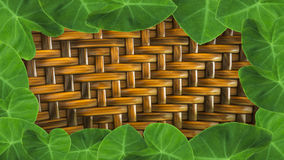 leaves with hand made wickerwork from rattan for backgroun Royalty Free Stock Photography
