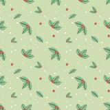 Leaves and holly berry on a green background with white round sn. Owflakes in the style of a tattoo. Seamless pattern Royalty Free Stock Photos