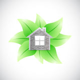 Leaves and home illustration design Stock Photography