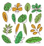 Leaves icon hand drawn vector set isolated on white background. Shapes of green leaves of trees and plants. Elements for eco and bio logos Royalty Free Stock Image