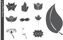Leaves Icons Set 1 Stock Photography