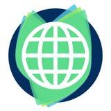 Outline globe icon above simple flat leaves set stock illustration