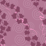 Leaves of ivy and ribbons on seamless pattern Royalty Free Stock Image