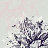 Leaves line art. Retro styled floral background with leaves Stock Images