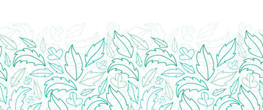 Leaves lineart horizontal seamless pattern Royalty Free Stock Photography