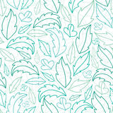 Leaves lineart seamless pattern background Royalty Free Stock Images