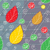 Leaves and lines autumn seamless Stock Image