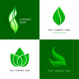 Leaves logos templates. Abstract vector icons of leafs. Royalty Free Stock Photo