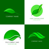 Leaves logos templates. Abstract vector icons of leafs. Stock Images