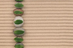 Leaves lying on the stones have been laid out in a row on the sand, with space for text. Royalty Free Stock Photo
