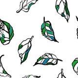 leaves m?nsan seamless blom- prydnad Vit bakgrund royaltyfri illustrationer