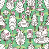 Leaves mascot coloring seamless pattern Royalty Free Stock Photos