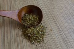 Leaves medicinal herbs in a wooden spoon texture Stock Photography
