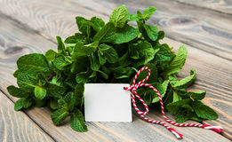 Leaves of mint with label Royalty Free Stock Images