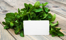 Leaves of mint with label Royalty Free Stock Photo