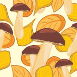 Leaves and mushrooms. Seamless autumn background stock photography