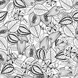 Leaves och blommor Svartvit illustration för färgläggningbok seamless modell royaltyfri illustrationer