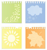 Leaves Of A Calendar With The Image Of Seasons Stock Images