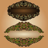 Leaves old luxury banner label background Royalty Free Stock Photos