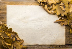 Leaves and paper on wooden background Stock Photo