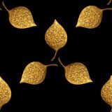 Leaves pattern. Gold hand painted seamless background. Abstract leaf golden illustration. royalty free illustration
