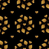 Leaves pattern and hearts ornament. Gold hand painted seamless background. Abstract leaf golden illustration. Royalty Free Stock Image
