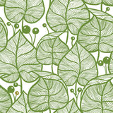 Leaves pattern. Seamless green leaf pattern Stock Images