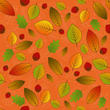 Leaves pattern. Vector seamless pattern with leaves on orange background Royalty Free Stock Images