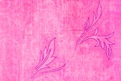 Leaves on pink background. An outline drawing of leaves on a pink paper background Stock Photo