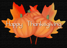 Leaves & Pumpkins Happy Thanksgiving Royalty Free Stock Photography