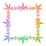 Leaves in rainbow colors. Square frame of colorful leaves  on white. Leaves in rainbow colors royalty free stock image