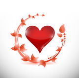 Leaves and red heart illustration design Stock Photo